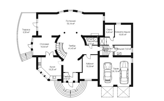 клапан проект дома с гаражем и бассейном Киеве
